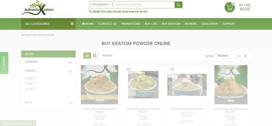 Authentic Kratom Website Products
