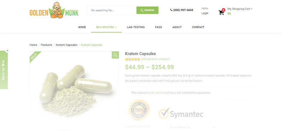 The Golden Monk - Best Kratom Capsule Vendors